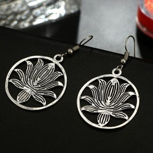 Antiqued Silver Boho Lotus Flower Dangle Earrings